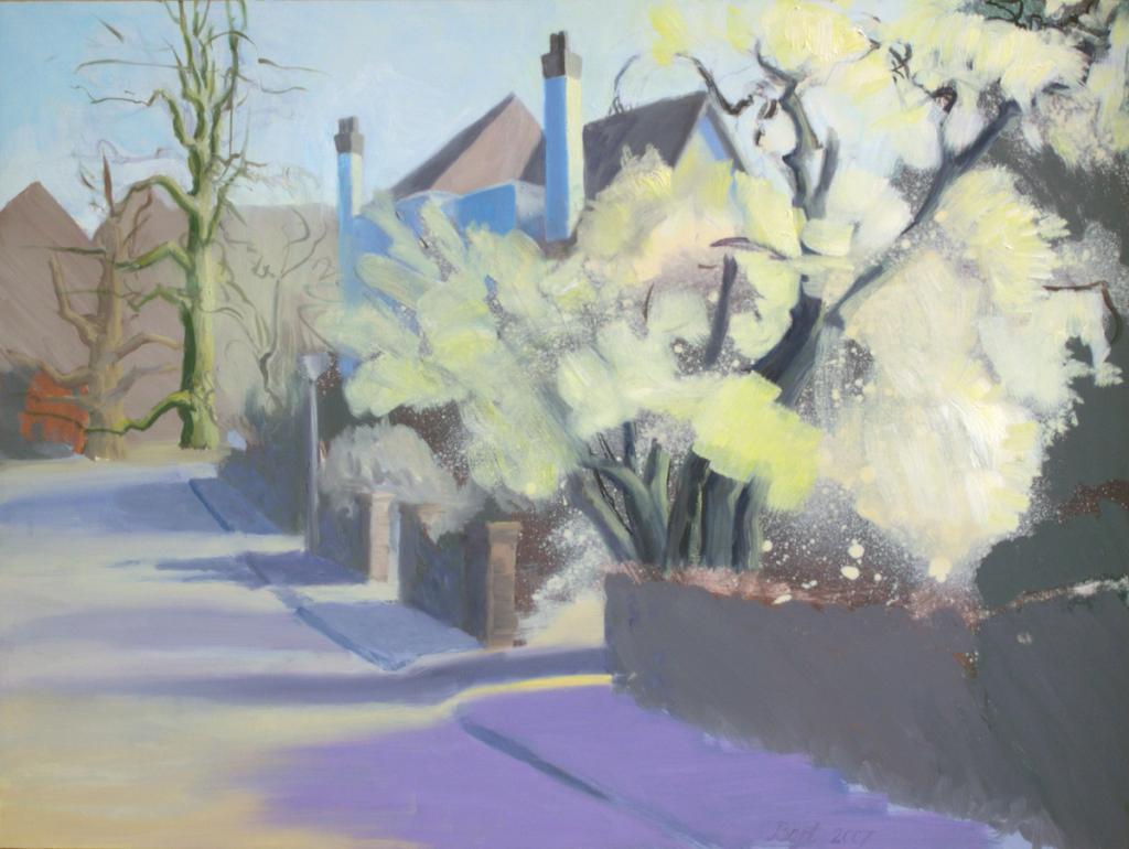"""""""Wageningen, straat met bloeiende heesters"""", 2007"""