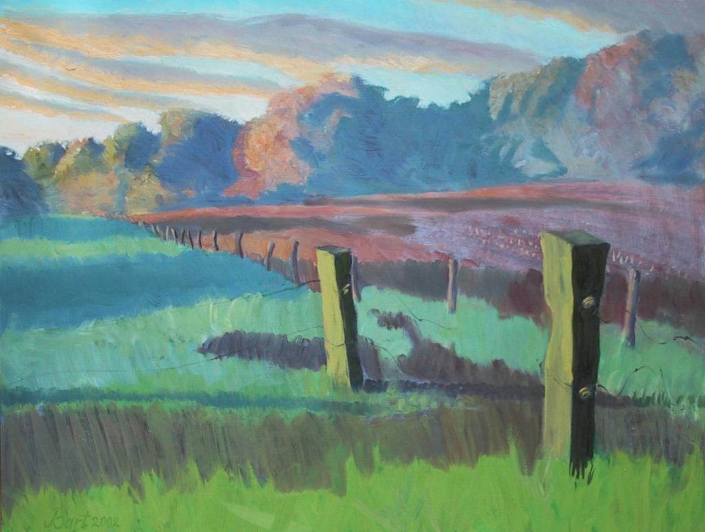 """""""Weiland met opkomende zon, herfst, mist, ochtendlicht"""", 2002"""