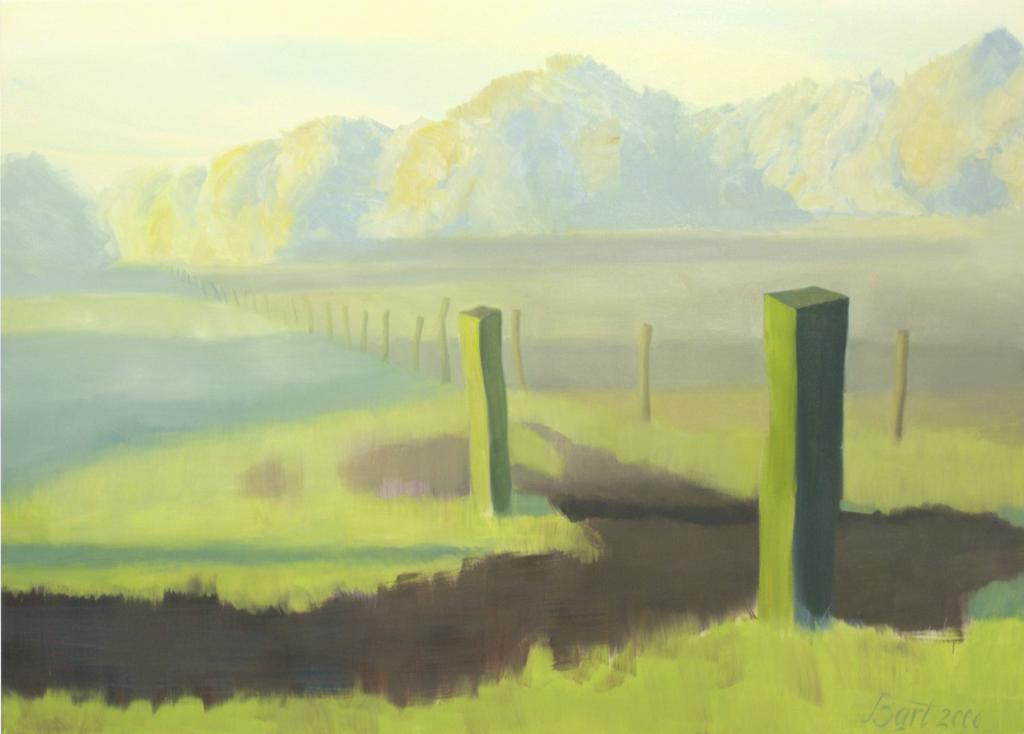 """Weiland met opkomende zon, herfst, mist, ochtendlicht II"", 2006"
