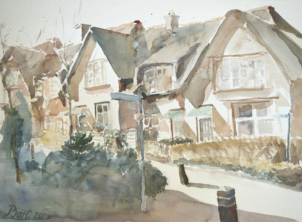 """""""Huisjes Heveadorp, voorjaar, middagzon"""", 2003"""