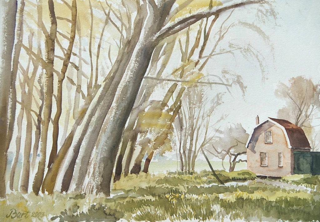 """""""Huisje langs het Merwedekanaal, voorjaar, avond"""", 2003"""
