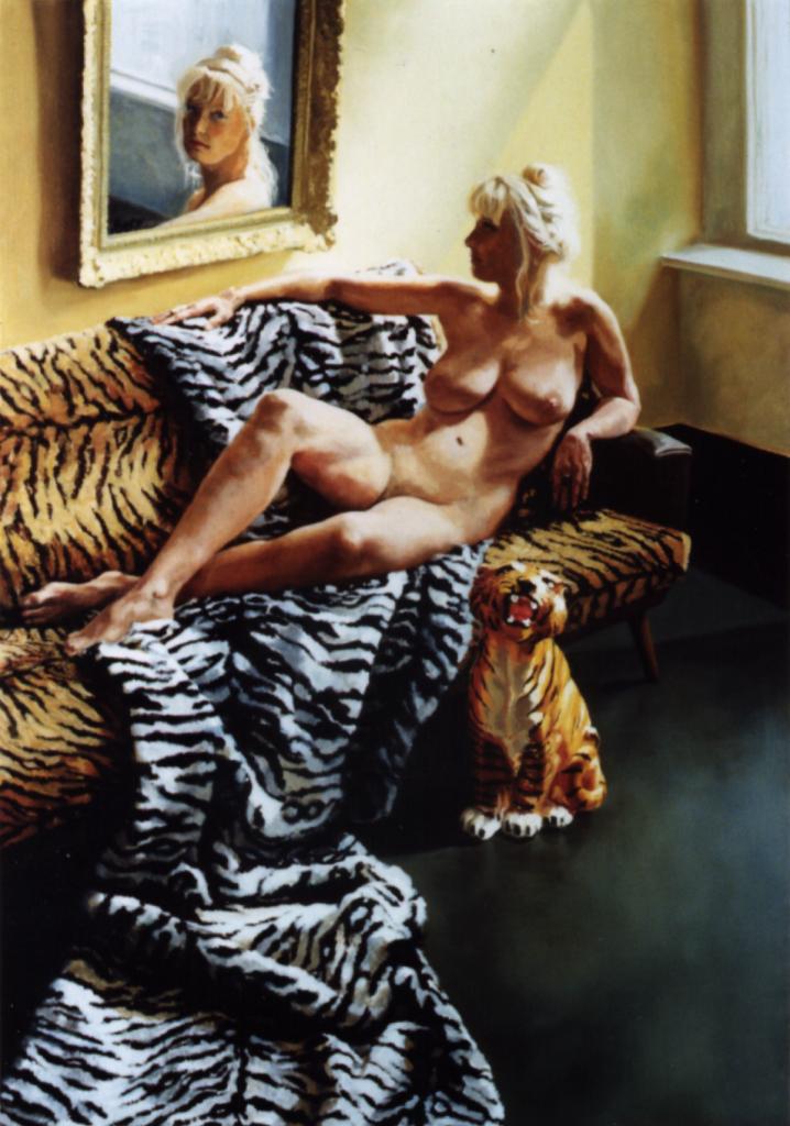 """""""Naaktportret op tijgerbank met spiegel"""", 1990"""