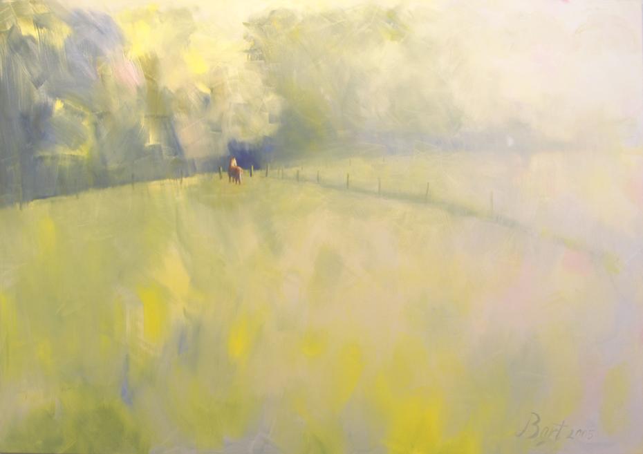 """""""Paardje met opkomende zon, ochtendnevel."""", 2005"""