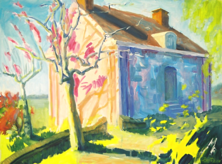 Roze huis in Oosterbeek, lente