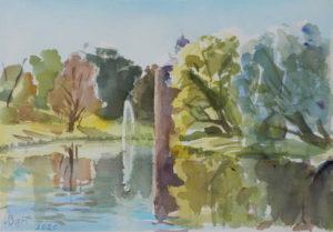 Aquarel in de tuin van kasteel Rosendael